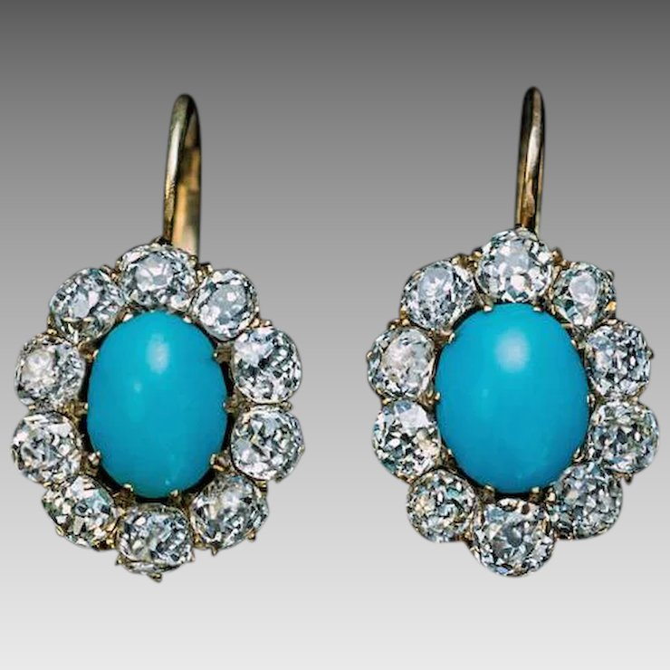 Antique Persian Turquoise Diamond 14k Gold Cer Earrings
