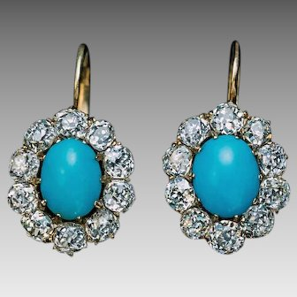 Antique Persian Turquoise Diamond 14K Gold Cluster Earrings