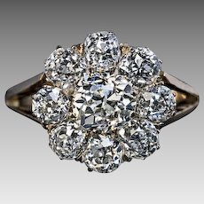 Antique 2.24 Cttw Diamond Cluster 14K Gold Engagement Ring