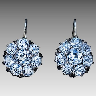 Antique 2.00 Cttw Diamond Gold Cluster Earrings
