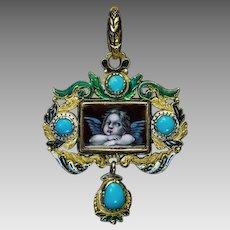 Antique Renaissance Revival 18K Gold Enamel Turquoise Pendant