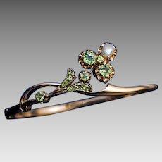 Antique Art Nouveau Russian Demantoid Pearl 14K Gold Bangle Bracelet