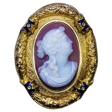 Antique French Sardonyx Cameo 18K Gold Enamel Brooch