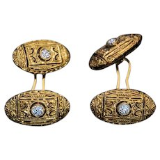 Art Deco Vintage Diamond 18K Gold Openwork Cufflinks