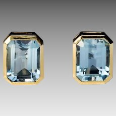 Vintage Aquamarine 18K Gold Stud Earrings
