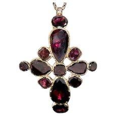 Antique Georgian Garnet Gold Cross Pendant