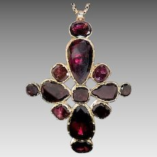 Antique Georgian Garnet Gold Cross Pendant