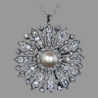 Antique Victorian Large Natural Pearl Diamond Brooch Pendant