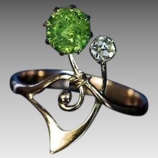 Art Nouveau Antique Russian Demantoid Diamond Flower Ring