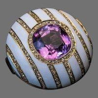 FABERGE Antique Russian Tourmaline Enamel Diamond Brooch