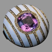 FABERGE Antique Russian Tourmaline Enamel Diamond Brooch