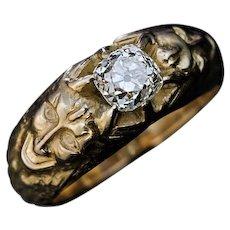 Antique 1.14 ct Cushion Cut Diamond Gold Men's Ring