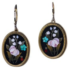 Antique Florentine Mosaic Gold Dangle Earrings