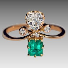 Vintage Russian Diamond Emerald 14K Gold Ring 1930s