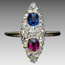 Antique Victorian Sapphire Diamond Ruby Marquise Ring