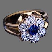 Antique Victorian Sapphire Diamond 18K Gold Cluster Ring 1800s