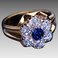 Antique Victorian Sapphire Diamond 18K Gold Cluster Ring 1800s