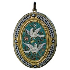 19th Century Antique Italian Micro Mosaic 18K Gold Pendant Locket