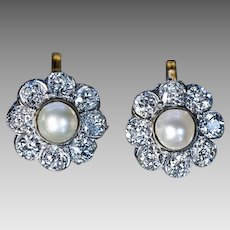 Antique Pearl Diamond Platinum Gold Cluster Earrings