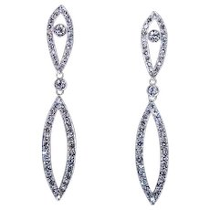 Art Deco Vintage Diamond Platinum 18K Gold Long Earrings