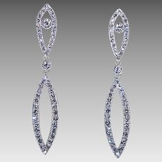 Art Deco Vintage Diamond Platinum 18K Gold Long Earrings