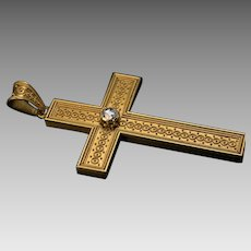 Large Antique Rose Cut Diamond Filigree 14K Gold Cross Pendant