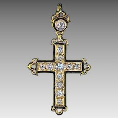 Antique French Diamond Enamel 18K Gold Cross Pendant Victorian Era Jewelry