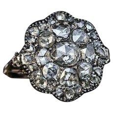 Antique Georgian Era Rose Cut Diamond Ring c. 1780
