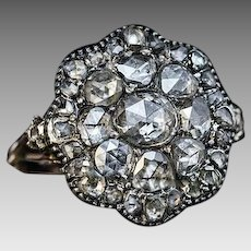 Antique Georgian Era Rose Cut Diamond Ring c. 1780