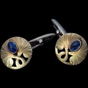 Antique Art Nouveau Cabochon Sapphire 14K Gold Cufflinks