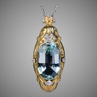 Art Nouveau Antique 20 Ct Aquamarine Diamond 14K Gold Pendant