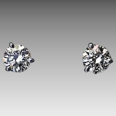 1 Ct Tw Brilliant Cut F Color Diamond 14K White Gold Stud Earrings