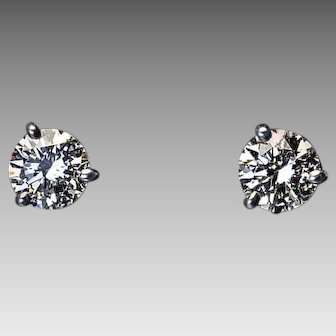 1 Ct Tw Brilliant Cut F Color Diamond 14K White Gold Stud Earrings