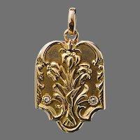 Antique Art Nouveau Russian 14K Gold Diamond Locket Pendant