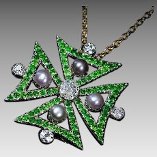 Antique Victorian Diamond Demantoid Pearl Maltese Cross Pendant / Brooch