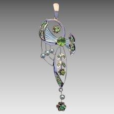 Art Nouveau Antique Russian Chrysolite Demantoid Two Color 14K Gold Pendant Necklace