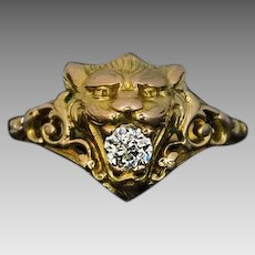 Belle Epoque Antique Old Mine Cut Diamond 14K Gold Lion Unisex Ring - Victorian Jewelry - 1800s Rings