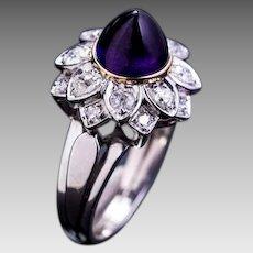 Vintage French Cabochon Amethyst Old Cut Diamond Platinum Ring - Retro Jewelry - Mid Century