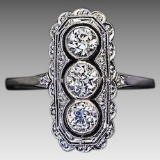 Antique Edwardian Three Stone Old European Cut Diamond Platinum Engagement Ring - Belle Epoque 1900s Jewelry