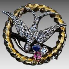 Antique Victorian Era Austrian 1870s Jeweled Bird Brooch Pin - Vienna 19th Century