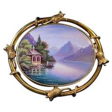 Antique Mid 19th Century Swiss Enamel 18Kt Gold Brooch Pin - Switzerland Geneva Painted Enamels - Victorian Landscape Jewelry