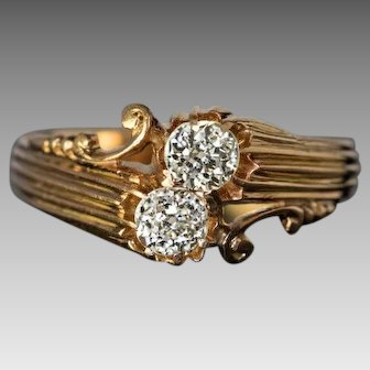 Antique Russian 19th Century Two Stone Diamond Bypass Victorian Engagement Ring