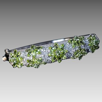 White 18K Gold Peridot Diamond Bangle Bracelet