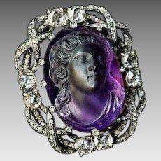 Belle Epoque Antique Amethyst Cameo Diamond Brooch Pendant
