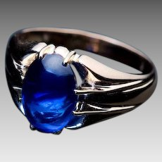 Antique Russian 5 Ct Cabochon Sapphire 14K Gold Unisex Ring