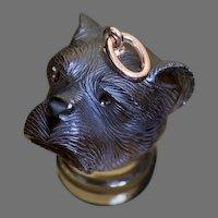 Antique Victorian 19th Century Dog's Head Carved Topaz Pendant Charm