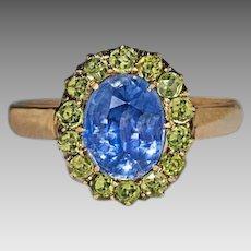 Vintage Russian 2.47 Ct Sapphire Demantoid Garnet 14 kt Gold Ring