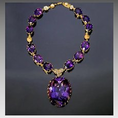 Antique Early 1900s Amethyst Diamond 14K Gold Necklace