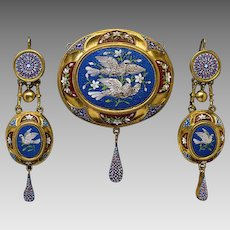 Antique Mid 19th Century Italian Micro Mosaic 18K Gold Set - Etruscan Revival Jewelry