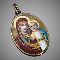 Rare Antique Russian Painted Enamel 14K t Gold Icon Pendant Of Mother of God